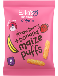strawberry + banana melty puffs - 4 x 20 g