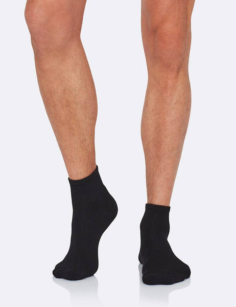 Men's Quarter Crew Sports Socks - Black/39-45
