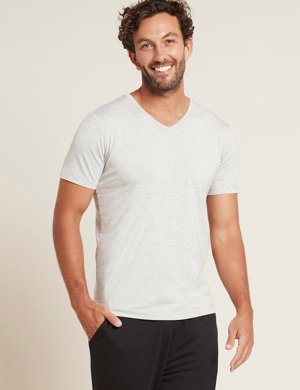Men's V-Neck T-Shirt - Light Grey Marl/S