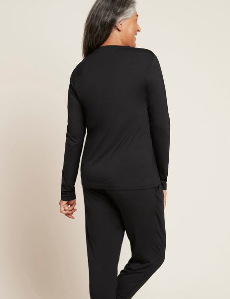 Women's Long Sleeve Round Neck T-Shirt - Black/XL