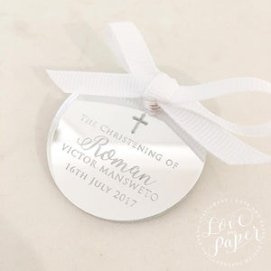 CUSTOM NAME ROUND FAVOUR TAGS