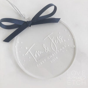 """FIRST CHRISTMAS COUPLE"" PERSONALISED CHRISTMAS BAUBLE - MODERN TYPEFACE"