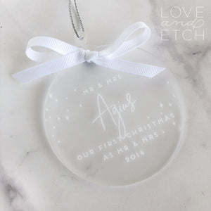 """FIRST CHRISTMAS AS MR & MRS"" PERSONALISED CHRISTMAS BAUBLE - MODERN TYPEFACE"