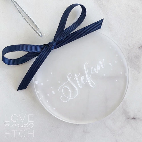 PERSONALISED NAME CHRISTMAS BAUBLE - CLASSIC TYPEFACE