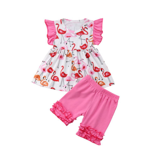 Girls Cotton Ruffled Set