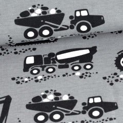 Machines in gray organic cotton jersey knit fabric