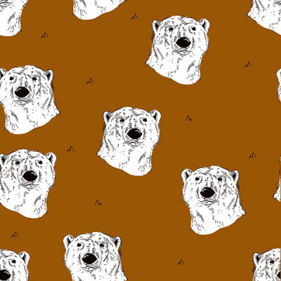 Polar bear in burnt ochre organic french terry cotton jersey knit fabric