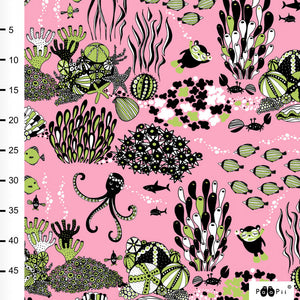 Myyry the diver in light pink and apple organic cotton jersey knit fabric