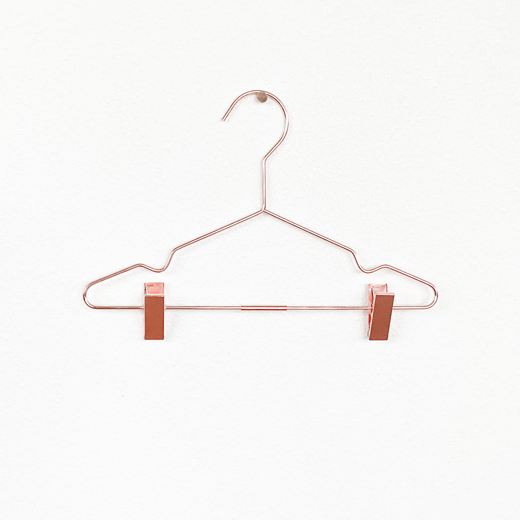 2 rose gold/copper child's hangers with clips see you at six