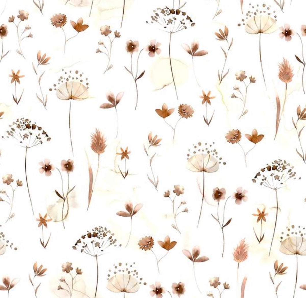 Pressed flowers cotton jersey knit fabric family fabric
