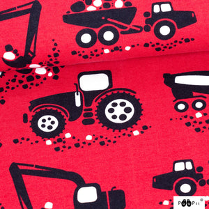Machines in red organic cotton jersey knit fabric