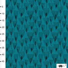 Barley in petrol organic cotton jersey knit fabric