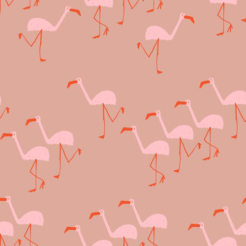 Flamingo cotton french terry knit fabric