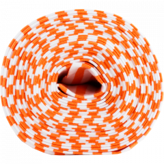 Ribbing in bright orange and white stripes organic cotton knit fabric