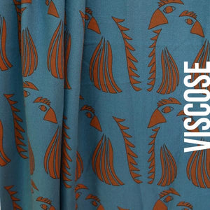 Blue parrot in viscose about blue