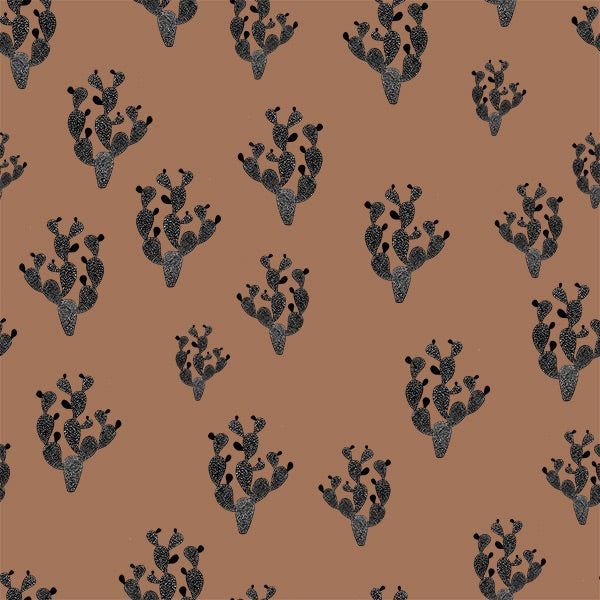 Black cactus in sandstorm organic cotton jersey knit fabric