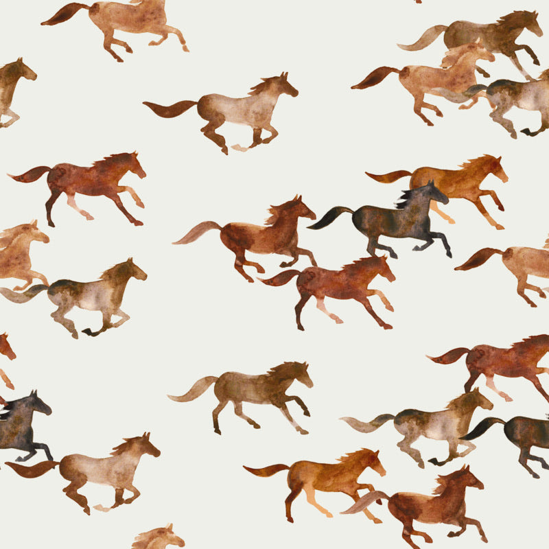 Wild horses cotton jersey knit fabric family fabric