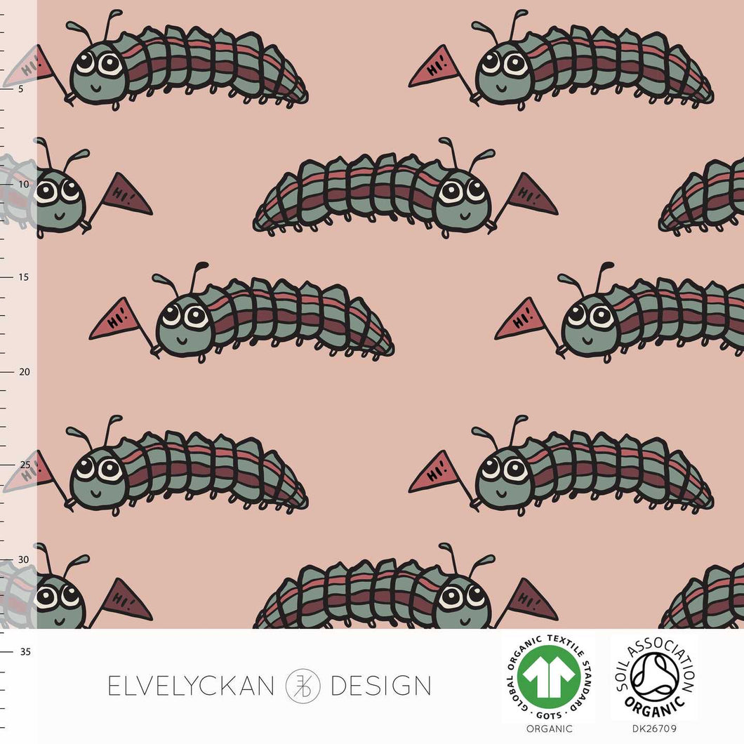 Larva in dusty pink organic cotton jersey knit fabric elvelyckan design