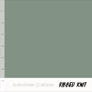 Solid green RIBBED knit cotton fabric elvelyckan design