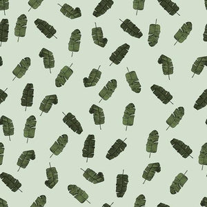 Banana leaves in pastel green organic cotton jersey knit fabric