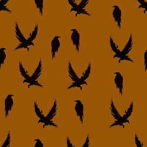 Winter crow in burnt ochre organic cotton jersey knit fabric