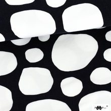 Stones in black and white organic cotton jersey knit fabric