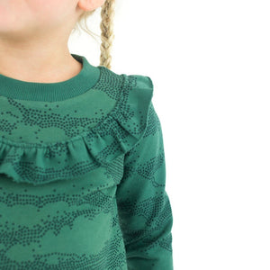 Bistro green ribbing cuffing cotton knit fabric