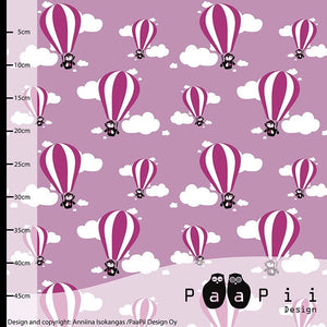 Hot air balloons in lilac organic cotton jersey knit fabric