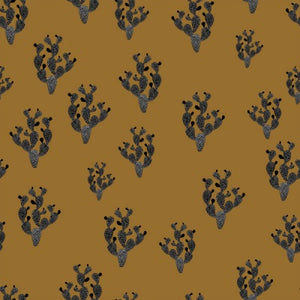 Black cactus in golden ochre organic cotton jersey knit fabric