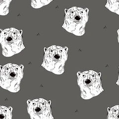 Polar bear in steel gray organic cotton jersey knit fabric
