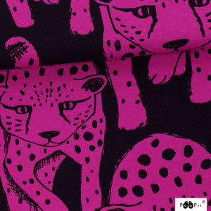 Cheetah in purple organic french terry knit fabric