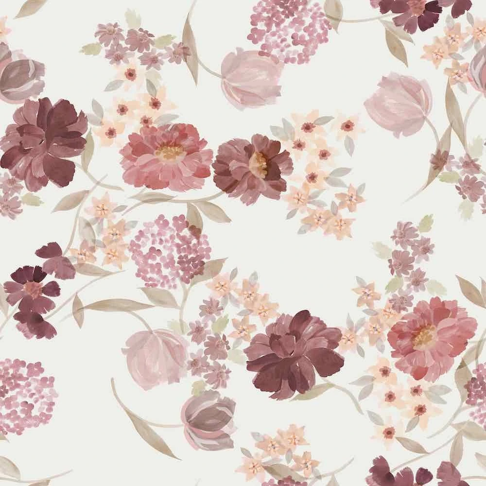 Vintage floral  cotton jersey knit fabric family fabric