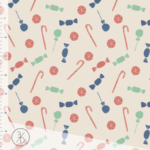 Candy Christmas organic cotton jersey knit fabric