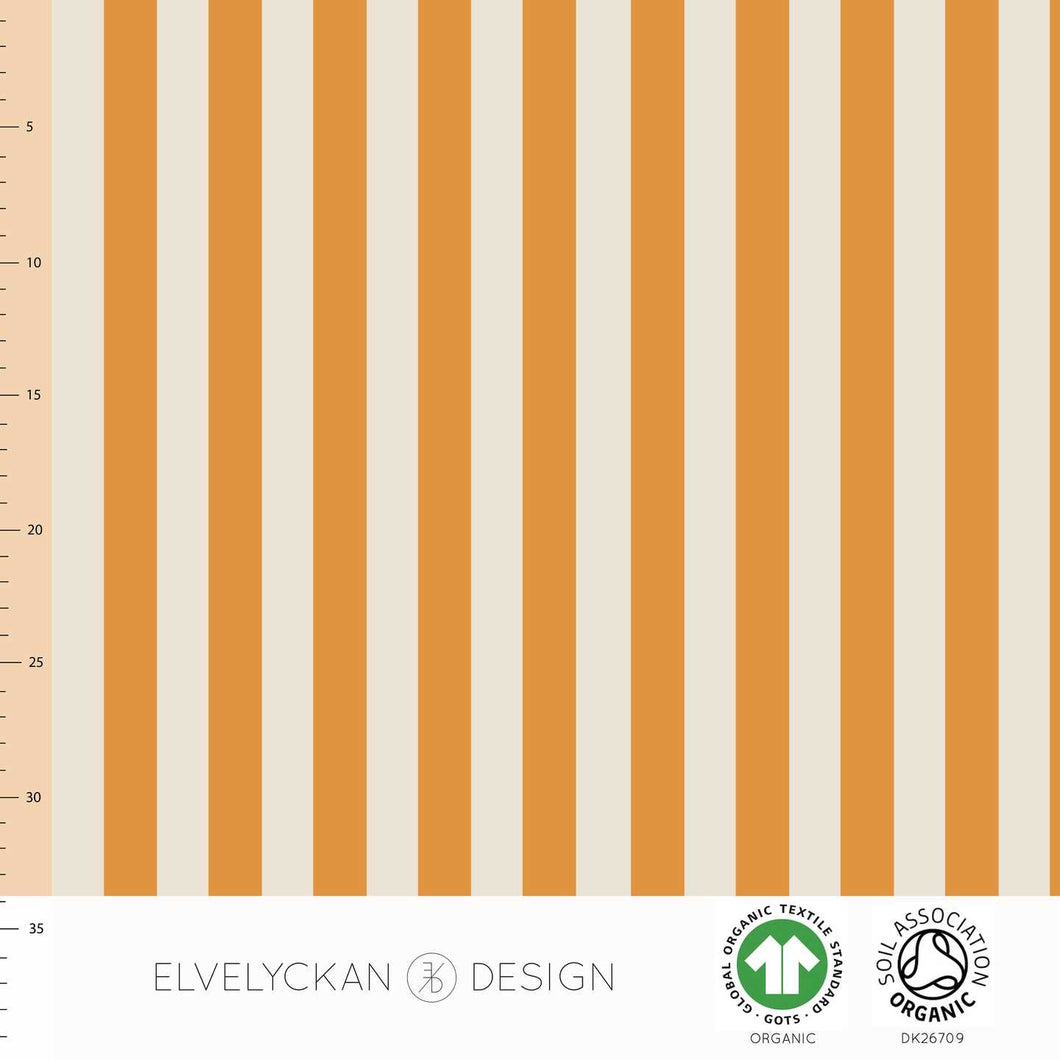 Vertical in orange and creme organic cotton jersey knit fabric elvelyckan design