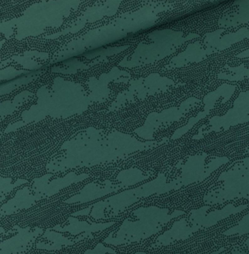 Clouds in bistro green french terry sweatshirt knit fabric