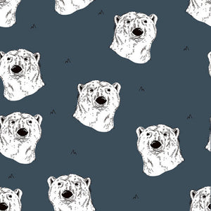 Polar bear in dusty blue organic french terry cotton jersey knit fabric