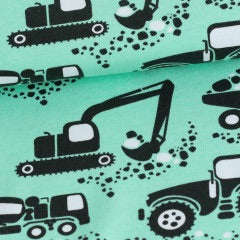Machines in mint organic cotton jersey knit fabric