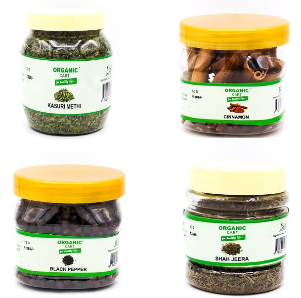 Combo Pack of  Black cumin 60 g Black Pepper Whole 75 g Kasuri Methi Dried 50 g Cinnamon 50 g - 235 Grams - Organic Cart