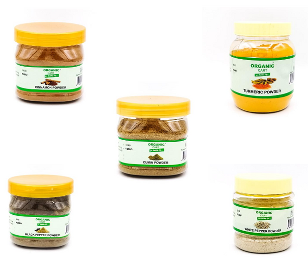 Combo Pack of  Cinnamon Powder 100 g Turmeric Powder 250 g Cumin Powder 100 g Black Pepper Powder 50 g White Pepper Powder 50 g - 550 Grams - Organic Cart