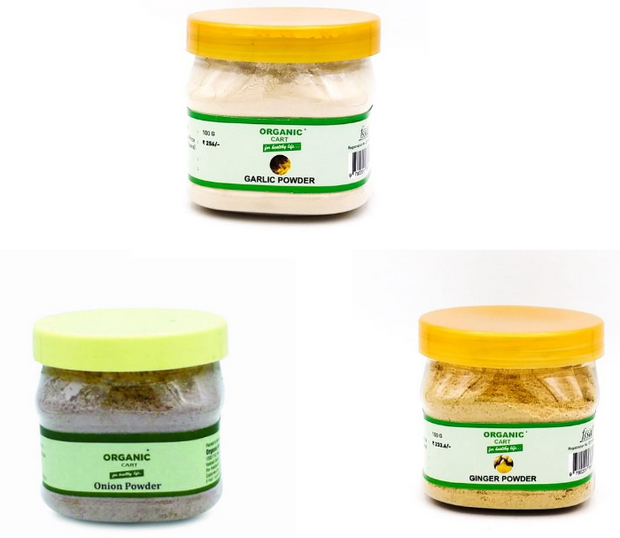 Combo Pack of  Onion Powder 100 g Ginger Powder 100 g  Garlic Powder 100 g - 300 Grams - Organic Cart