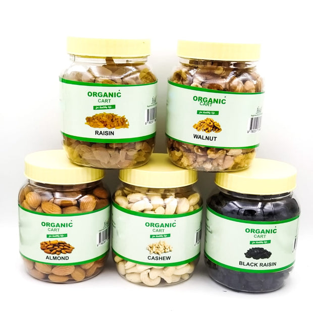 Dry Fruit Combo Raisin 300G Walnut 200G Almond 250G Cashew 250G Black Raisin 250G - 1250 Grams - Organic Cart