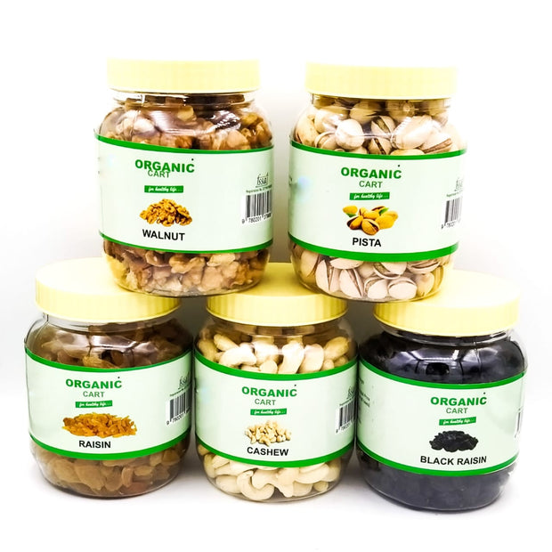 Dry Fruit Combo Walnut 200G Pista 200G Raisin 300G Cashew 250G Black Raisin 250G - 1200 Grams - Organic Cart