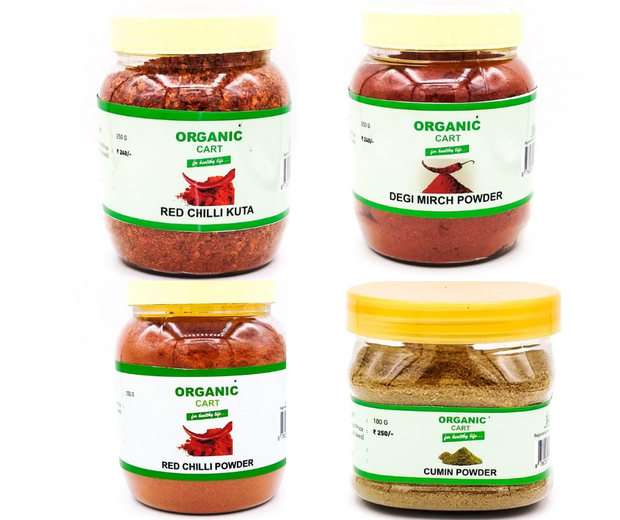 Combo Pack of Cumin Powder 100 g Red Chilli Powder Kuti 250 g Degi Mirch Powder 250 g Red Chilli Powder 250 g - 850 Grams - Organic Cart