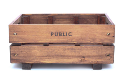 Public Wooden Crate Bicycle Basket