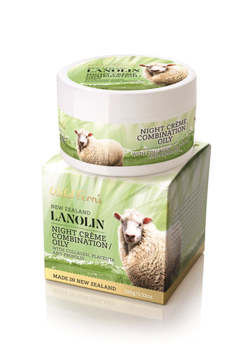 Lanolin Night Creme - Combination to Oily - with Collagen, Placenta and Propolis (LANCO)