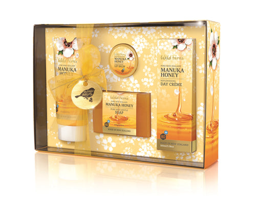 Manuka Honey Gift Box - Hand & Nail Conditioner, Soap, Lip Balm, Day Crème (MNGB)