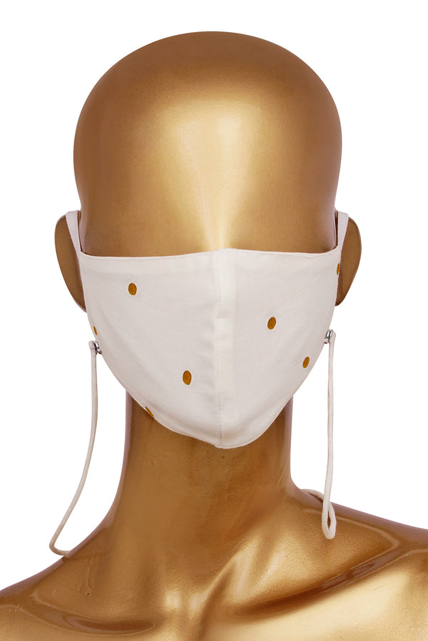 White Face Mask - Mustard Polka