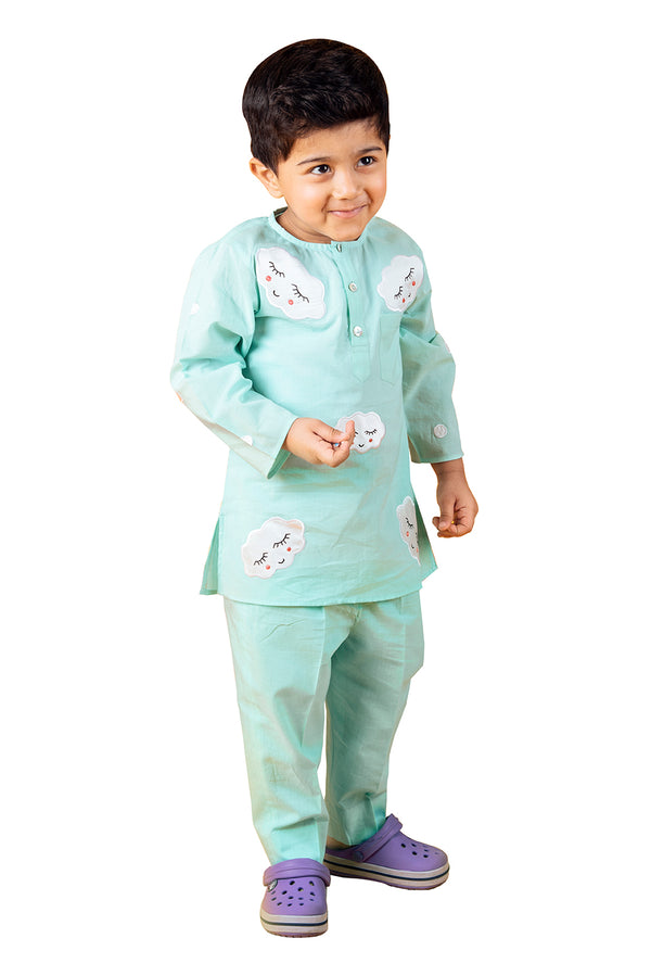Green Kurty Pyjama - Cloudy Dream A- Line