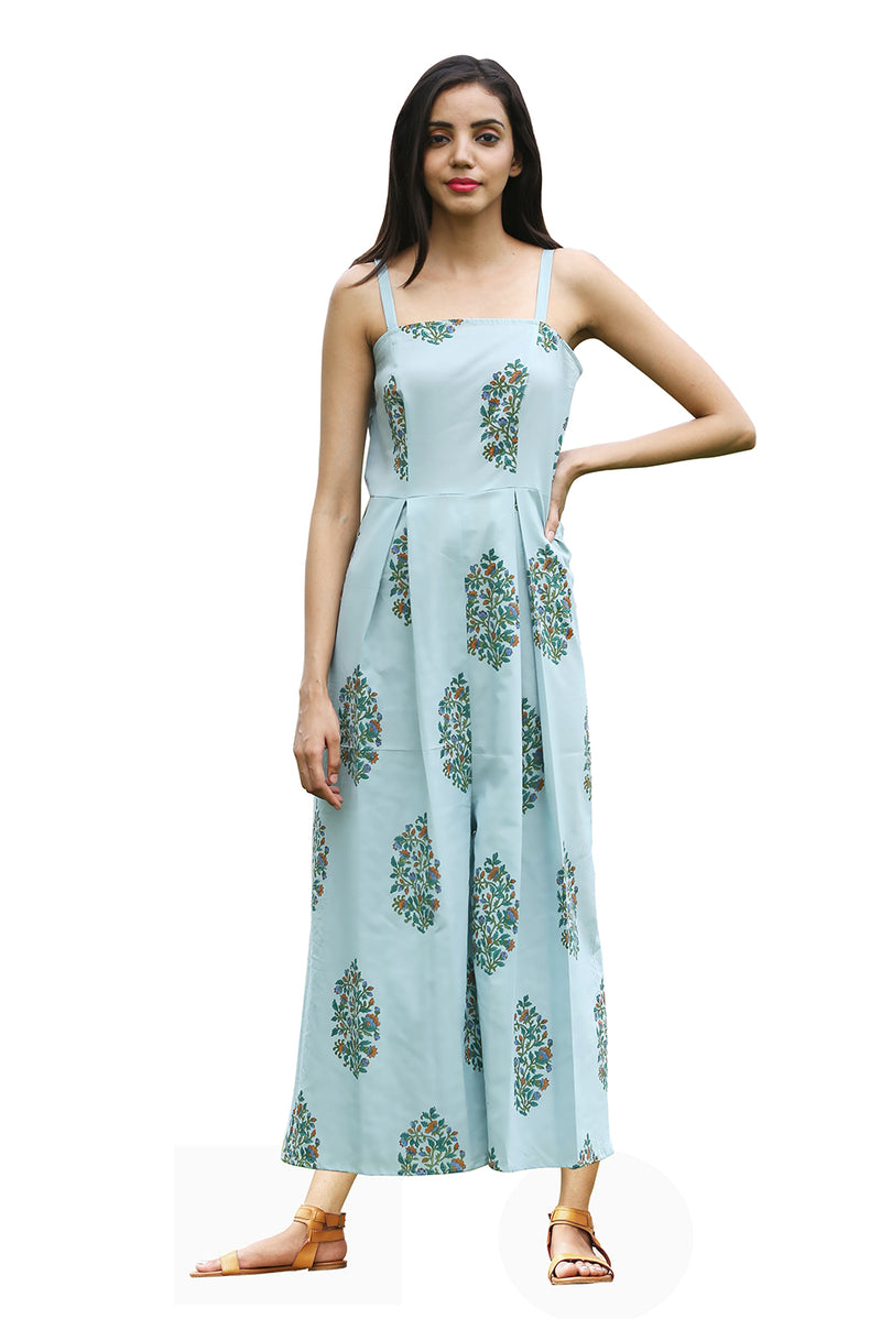 Green Jumpsuit - Floral Bunch Long