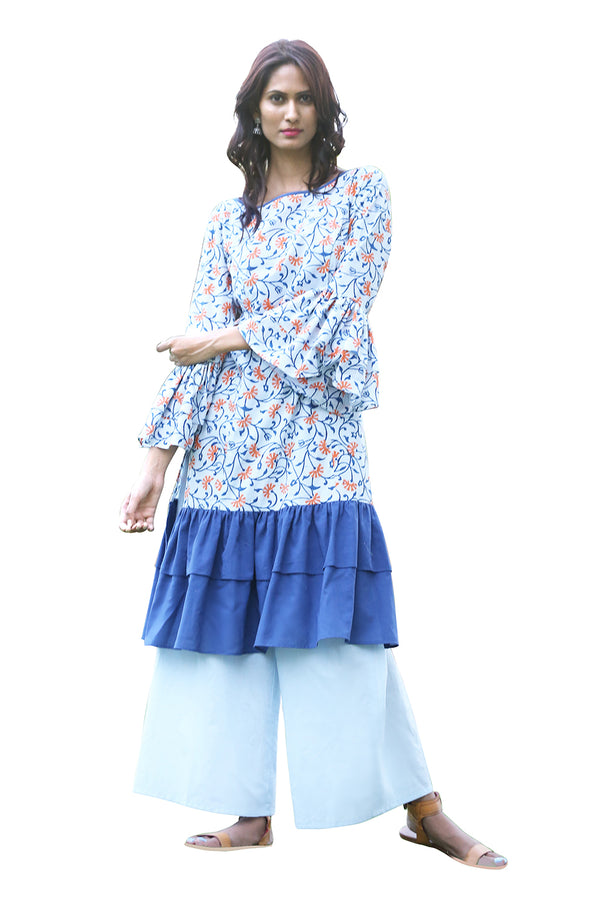 Multicolored Kurti - Ecstatic Floral Straight Cut